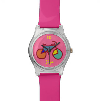 custom stylized color bicycle on pink wrist watch