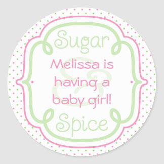 Custom Sugar and Spice Baby Shower Baby Girl Classic Round Sticker
