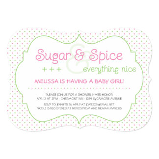 "Custom Sugar and Spice Baby Shower Invitation 5"" X 7"" Invitation Card"
