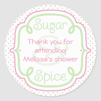 Custom Sugar and Spice Baby Shower Thank You Classic Round Sticker