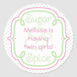 Custom Sugar and Spice Baby Shower Twins Classic Round Sticker