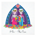 Custom Sugar Skulls and Flowers - Blue Background Personalized Invitations