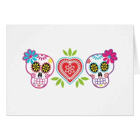 Custom Sugar Skulls And Flowers Note Card Zazzle Com