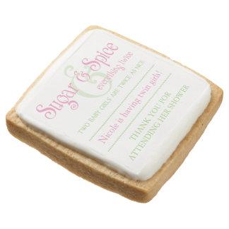 Custom Sugar & Spice Twins Baby Shower Favor Square Premium Shortbread Cookie