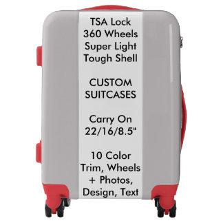 Custom Suitcase - SILVER Carry On w/ RED Trim Luggage
