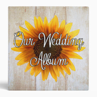 Custom Sunflower Country Wedding Photo Album Binder