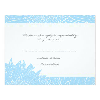 ::custom: Sunflower RSVP Card: Light Blue & Yellow Card