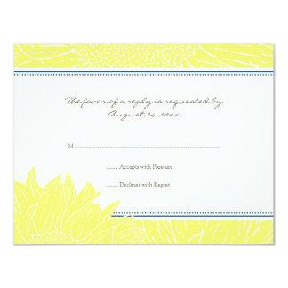 ::custom: Sunflower RSVP Card: Navy & Yellow Card