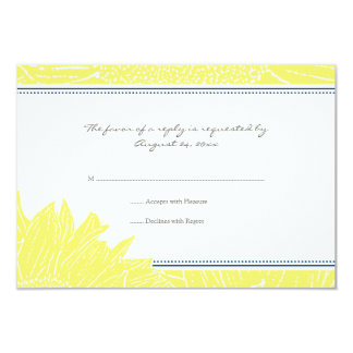 ::custom: Sunflower RSVP Card: Navy&Yellow Card