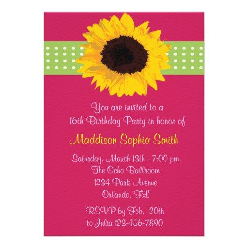 Custom Sunflower Sweet 16 Birthday Invites