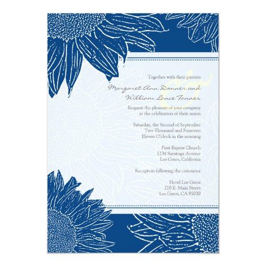 custom::Sunflower Wedding Invite: Navy dot&Yellow Card