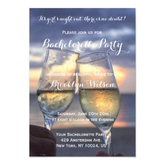 Custom Sunset On Beach Bachelorette Party Invites