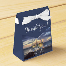 Custom Sunset On Beach Blue Wedding Favor Boxes