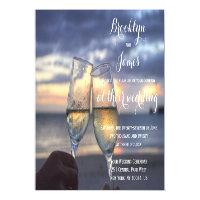 Custom Sunset On Beach Wedding Invitations Magnets