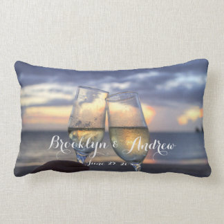 Custom Sunset On Beach Wedding Lumbar Pillows