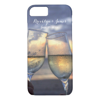Custom Sunset On The Beach Wedding iPhone 7 Cases