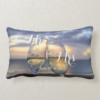 Custom Sunset On The Beach Wedding Pillows