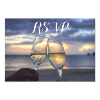 Custom Sunset On The Beach Wedding RSVP Cards