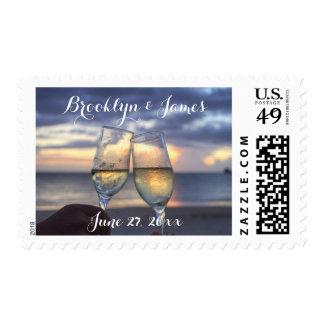 Custom Sunset On The Beach Wedding Stamps