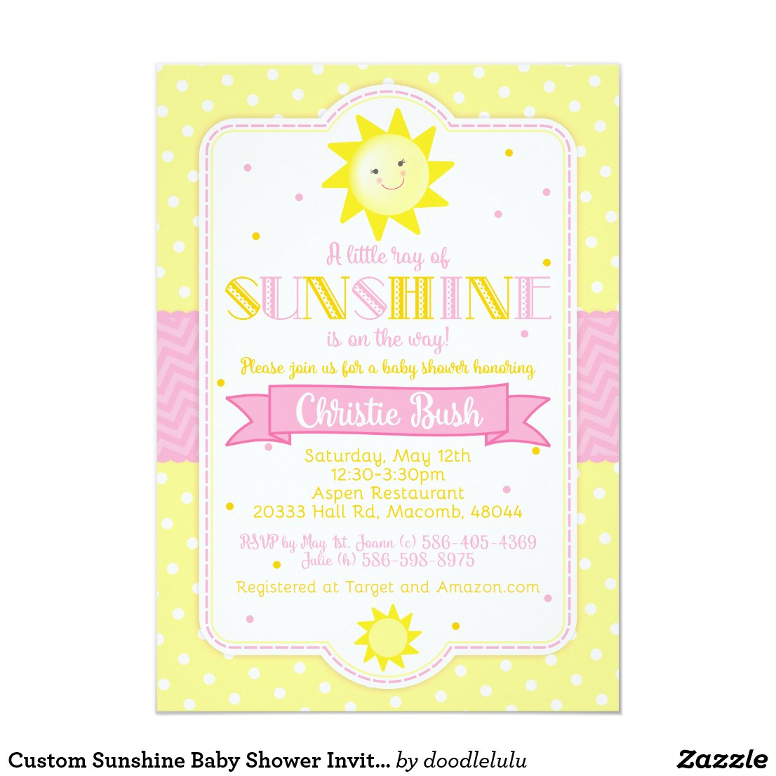 Custom Sunshine Baby Shower Invitation for Jamie