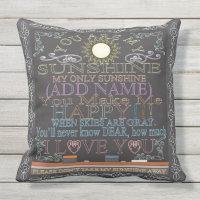 Custom Sunshine Vintage Chalkboard Artwork Outdoor Pillow