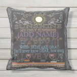 """Custom Sunshine Vintage Chalkboard Artwork Throw Pillow<br><div class=""""desc"""">Add a name to this cute vintage chalkboard artwork to make a special gift for someone you care about.</div>"""