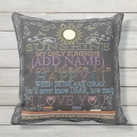 Custom Sunshine Vintage Chalkboard Artwork Throw Pillow