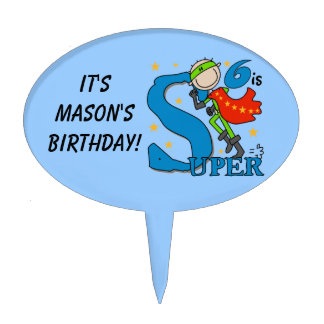 Custom Super Boy 6th Birthday Cake Topper