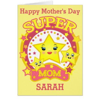 Custom Super Star Mom Mother's Day Greeting Card