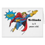 Custom Superhero Girl Flying Colorful Birthday Card