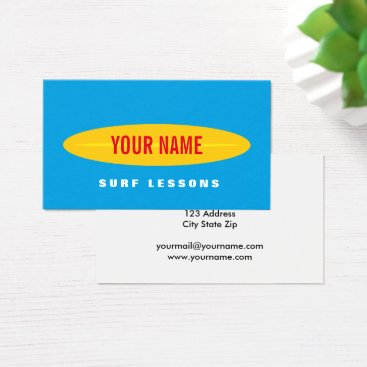 Beach Themed Custom surf instructor business card template