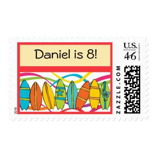 Custom Surfing Theme Postage Stamps