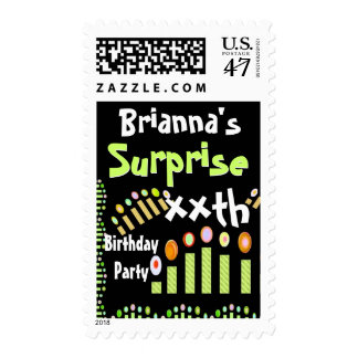 Custom SURPRISE Birthday - Green Candles Postage