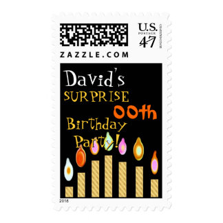 Custom  SURPRISE Birthday Invitation GOLD Candles Postage