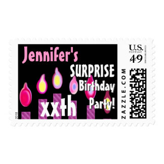 Custom SURPRISE Birthday Party Stamp PINK Candles