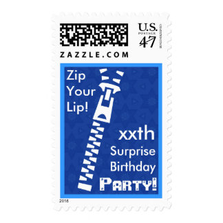 CUSTOM SURPRISE Birthday Party Zip Your Lip BLUE Postage Stamp