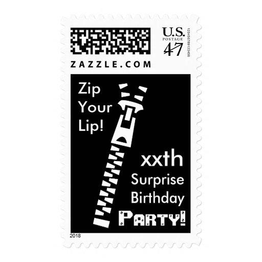 CUSTOM SURPRISE Birthday Party - Zip Your Lip! Stamp
