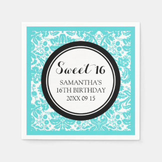 Custom Sweet 16 Birthday Napkin Aqua Black Damask
