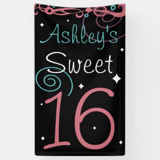 Custom Sweet 16 Photo Backdrop Banner