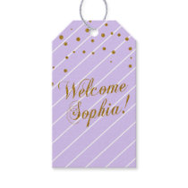 Custom - Sweet Baby Girl Lavender & Gold Confetti Gift Tags