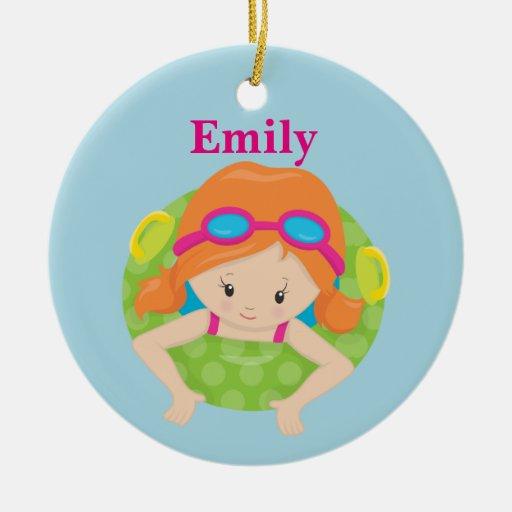 custom swim girl ceramic ornament
