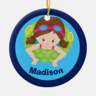 Custom Swim Team Girl Ceramic Ornament