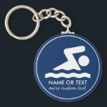 "Custom Swim Team Swimmer Name Keychain<br><div class=""desc"">The perfect keychain for those who love to swim!  Add your swimmer&#39;s name,  team name,  etc. Easily change the background color to match your team colors.</div>"