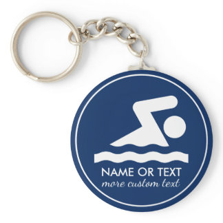 Custom Swim Team Swimmer Name Keychain
