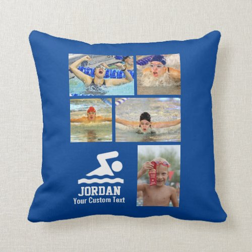 Custom Swimming Photo Collage Swimmer  Team Name Throw Pillow