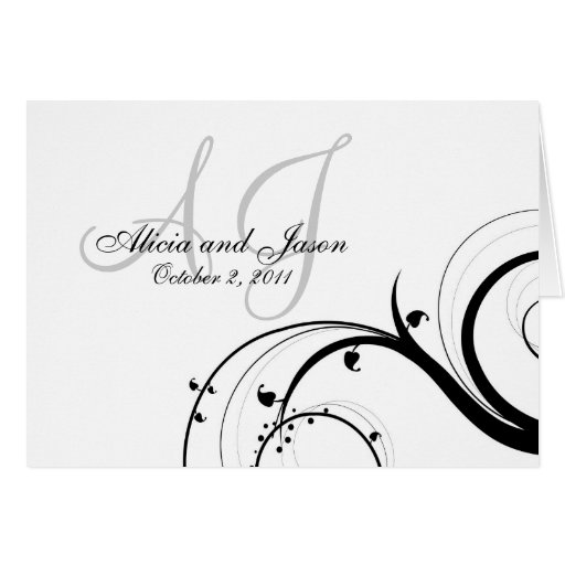 Custom Swirl Wedding RSVP Note Cards