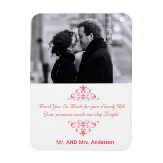 Custom Swirls Wedding Favor Thank You Photo Magnet