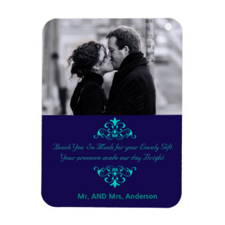 Custom Swirls Wedding Favor Thank You Photo Magnet
