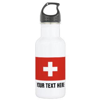 Custom Swiss flag water bottles for Switzerland