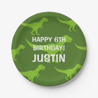 Custom T-rex dinosaur kids Birthday party plates